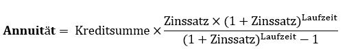 Formel zur Berechnung der Annuität