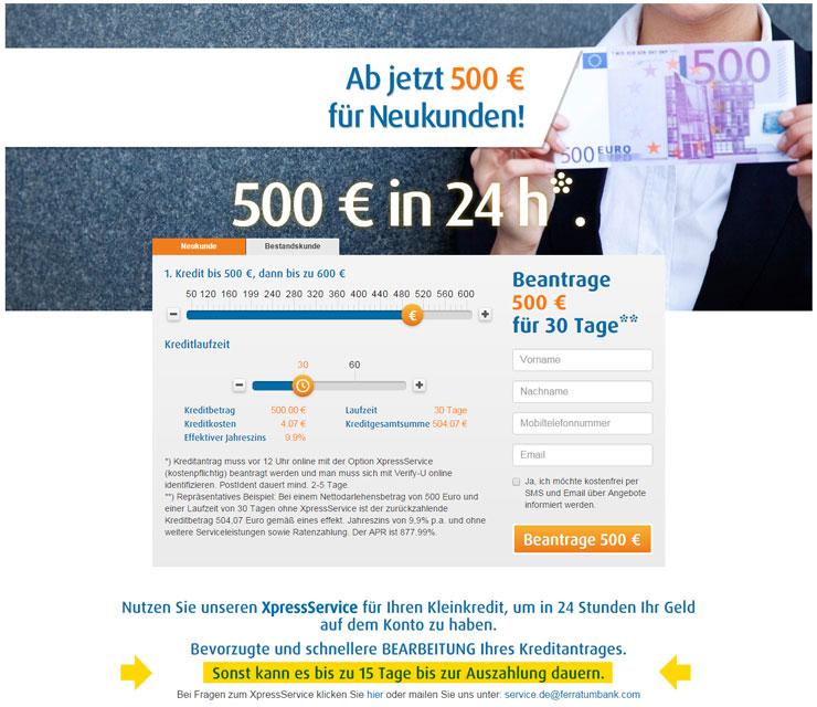 Screenshot der Startseite von Xpresscredit