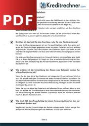 Deckblatt der Checkliste für Forward-Darlehen